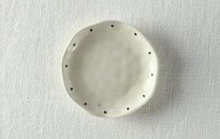 WP870 和風小皿/丸(白×茶)・ドット