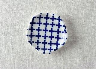 WP884 豆皿/花(白×青)