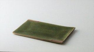 WP889 角皿/四角(緑×赤)・丹波焼