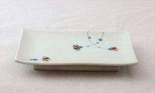 WP909 和皿/四角(白)・花柄