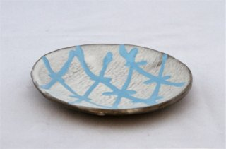 WP924 和皿/丸(グレー×水色)・丹波焼