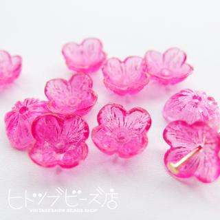 お花ビーズ10個 フューシャピンク