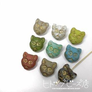 【新色追加】猫の顔ガラスビーズ2個