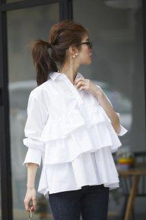 ボリュームティアードシャツ (ホワイト)