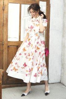 【再入荷】バタフライプリントドレス (オフ)