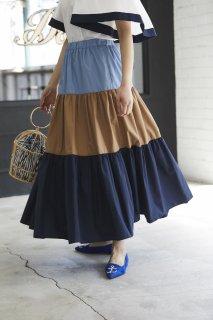 ティアードマキシスカート(ブルー×ベージュ)