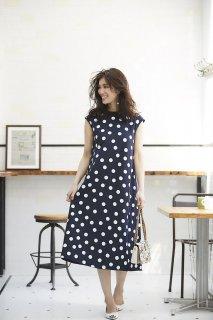 ドットニットドレス(ネイビー×ホワイトドット)
