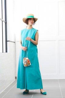 ロングタックドレス(ターコイズ)