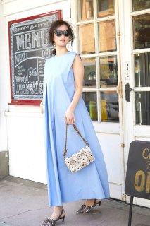 ロングタックドレス(ライトブルー)