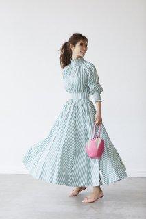 【6月頭配送予定】【予約】ストライプシャーリングドレス【グリーン】