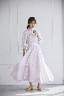 【再入荷】ストライプシャーリングドレス【ピンク】
