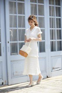 【20%OFF】レースニットドレス【オフホワイト】