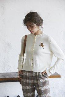 ワンポイント刺繍カーディガン(オフ)