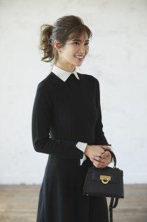 襟付きニットドレス(ブラック)