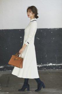襟付きニットドレス(オフ)