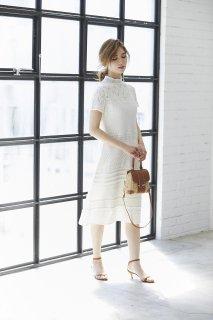 レースニットドレス(ホワイト)