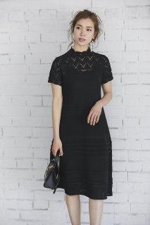 レースニットドレス(ブラック)