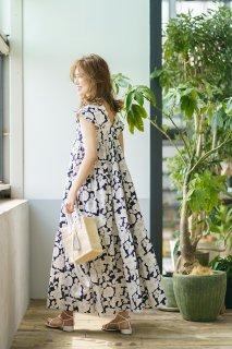 ヴィンテージプリントティアードドレス(ネイビー)