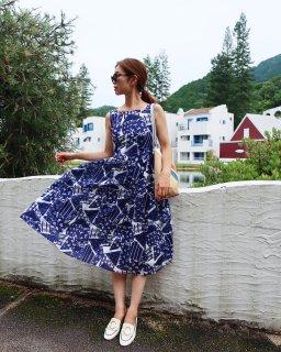 パッチワークプリントドレス(ミディ丈)