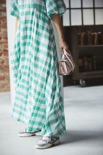 カラーチェックVネックドレス(グリーン)