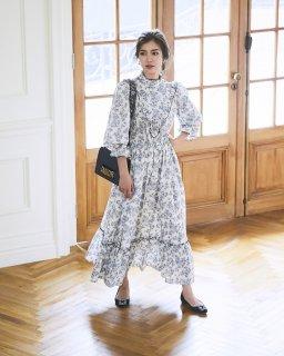 ヴィクトリアンプリントドレス(オフホワイト)