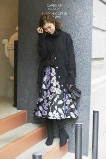 アシンメトリージャガードスカート(ブラック)