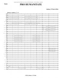 【吹奏楽 楽譜】<br>プロ・ヒューマニテイト <br>作曲:アンソニー・オトゥール<br>