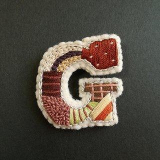 【2020秋】アルファベット刺繍ブローチ《G》