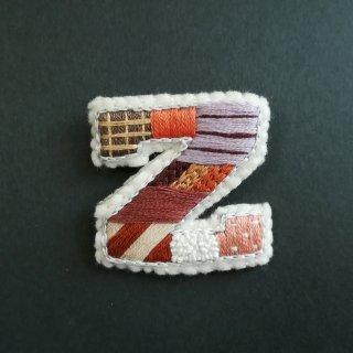 【2020秋】アルファベット刺繍ブローチ《Z》