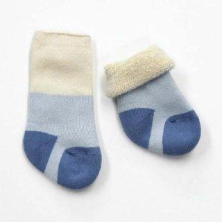 【ネコポス便可】Groedo オーガニックコットン ベビー裏パイルソックス きなり×ブルー サイズ00(8-9cm)〜02(10-12cm)