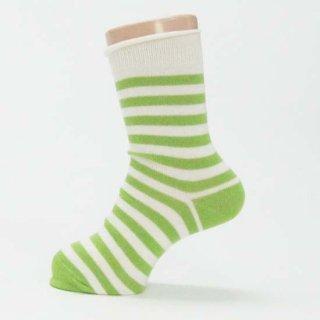 【ネコポス便可】オーガニックコットン ソックス キッズ ロールエッジ / きなり×黄緑ストライプ / サイズ 12cm〜21.5cm / Groedo