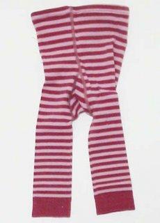 【ネコポス便可】Groedo オーガニックコットン ベビーレギンス 濃淡ピンクストライプ サイズ 01(70-80)〜02(80-90)