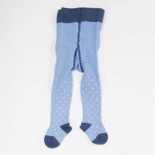 【ネコポス便可】Groedo オーガニックコットン ベビータイツ ハートブルー サイズ 01(70-80)〜02(80-90)