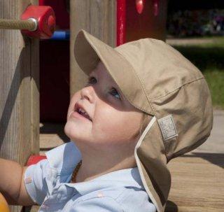 【ネコポス便可】Pickapooh ベビー&キッズ UVカット 日よけ帽子 オーガニックコットン Felix UPF20 ベージュ サイズ48〜60