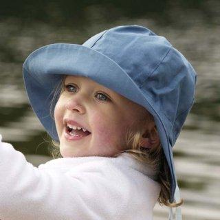【ネコポス便可】Pickapooh ベビー&キッズ UVカット 日よけ帽子 オーガニックコットン Nanda UPF60 デニムブルー サイズ48〜60