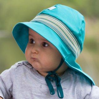 【ネコポス便可】Pickapooh ベビー&キッズ UVカット 日よけ帽子 オーガニックコットン ストレッチファイヤーマン UPF80 ターコイズブルー サイズ48〜58
