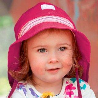 【ネコポス便可】Pickapooh ベビー&キッズ UVカット 日よけ帽子 オーガニックコットン ストレッチファイヤーマン UPF80 ラズベリーピンク サイズ48〜58