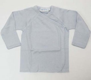 【ネコポス便可】Under The Nile オーガニックコットン スナップ長袖短肌着 ブルー 新生児-3ヶ月向き サイズ50-60