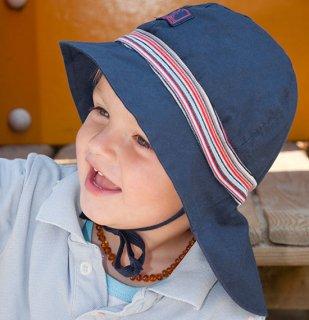 【ネコポス便可】Pickapooh ベビー&キッズ UVカット 日よけ帽子 オーガニックコットン ストレッチファイヤーマン UPF80 ネイビーブルー×赤紺水ストライプ サイズ50〜58