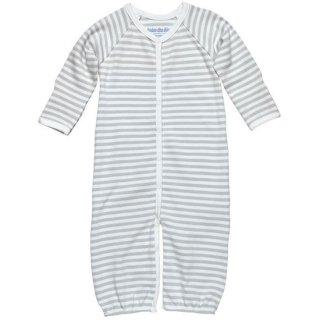 【ネコポス便可】オーガニックコットン ツーウェイオール ドレスオール / グレーストライプ / 新生児-3ヶ月向き 50 60 / Under The Nile
