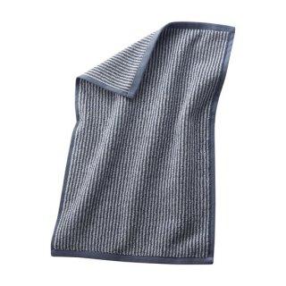 【ネコポス便可】 オーガニックコットン ゲストタオル 30×50cm / ブルーストライプ / Living Crafts