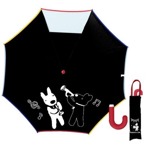 リサとガスパール 50cmキッズ折りたたみ傘(ミュージック)ブラック-120C-12