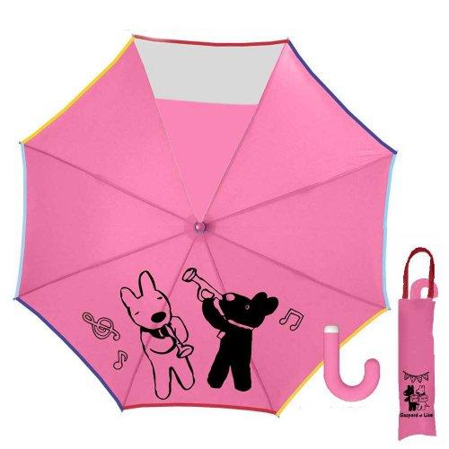 リサとガスパール 50cmキッズ折りたたみ傘(ミュージック)ピンク-120C-30