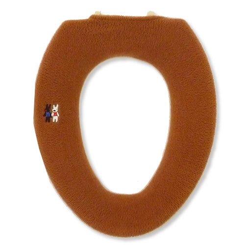 リサとガスパール O型便座カバー(アルファベット)ブラウン
