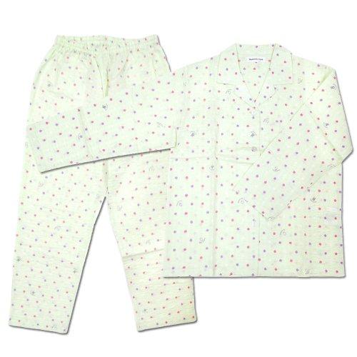 【生産終了品】リサとガスパール LIP-1522-30 襟付きパジャマ わたがし水玉(グリーン/レディースM)