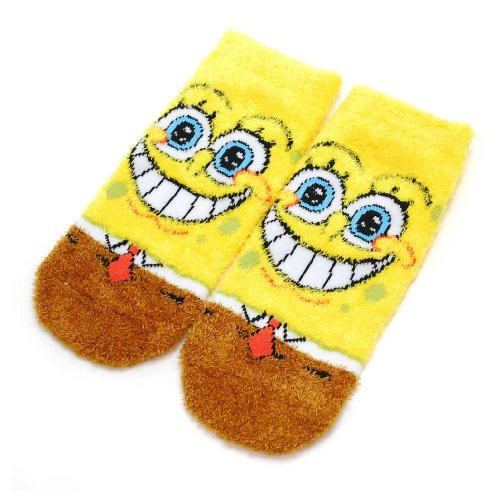 スポンジ・ボブ もっこもこ靴下(笑顔フェイス)YE×BR SPBAP359J