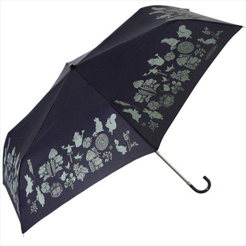 【生産終了品】ピーターラビット 折りたたみ傘(ダマスクミニ)ネイビー 8606