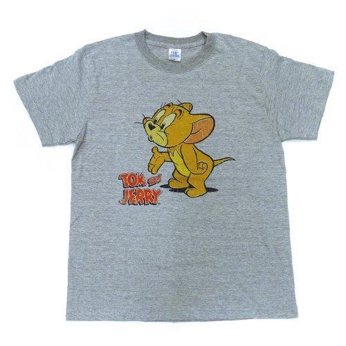 トムとジェリー Tシャツ(ジェリー)ヘザーグレー-5068