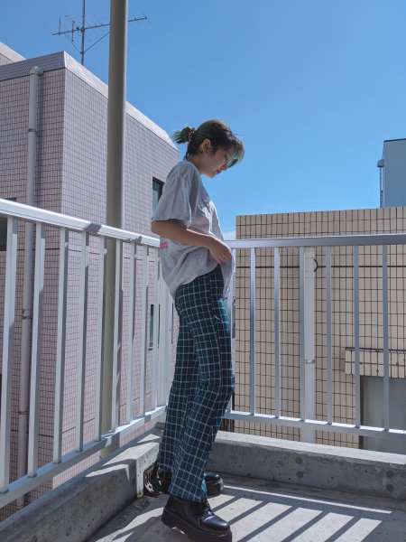 GREEN CHECK FLARE PANTS