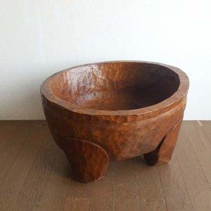 古木チーク・一刀彫り桶